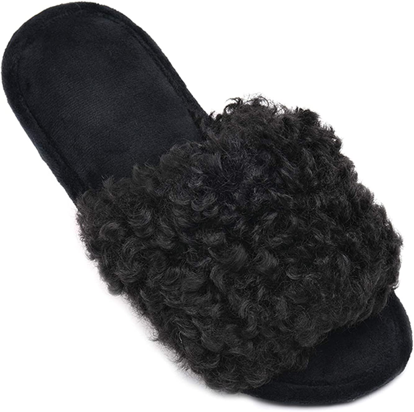DL Womens Open Toe Slippers, Memory Foam House Slippers Indoor Bedroom with Furry Fur, Cozy Non-Slip Home Shoes for Women Black Pink Grey