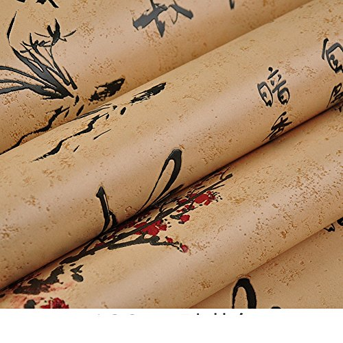 (DXG&FX Chinoiserie Wallpaper Calligraphy Wallpaper Pattern Poems Teahouse Neoclassical Style Wallpaper-A)