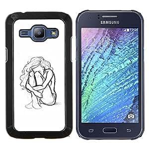 Eason Shop / Premium SLIM PC / Aliminium Casa Carcasa Funda Case Bandera Cover - Mujer Chica Depresión Heartbreak Sad - For Samsung Galaxy J1 J100