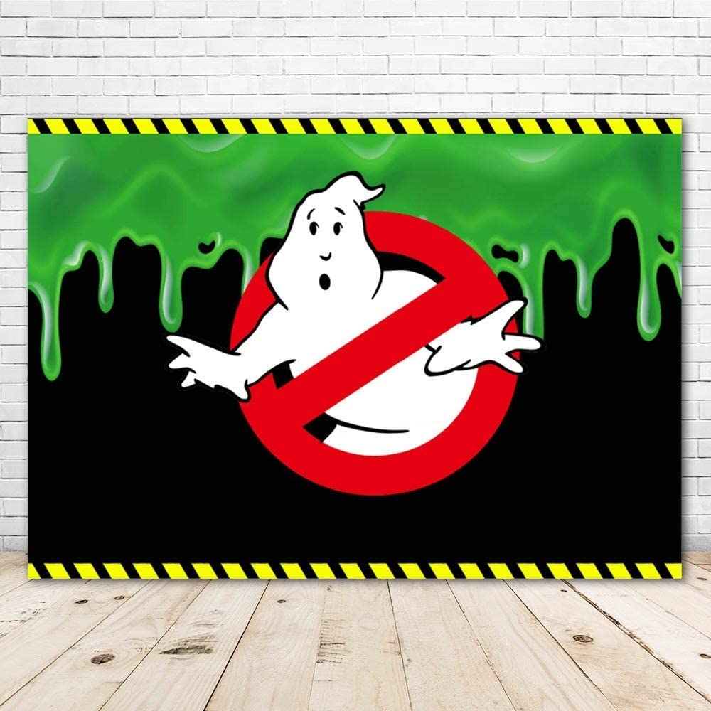 LINFENG Photo Backdrop Green Slime 7x5ft Cartoon Ghosterbusters Happy Birthday Background for Kids Vinyl Ghostbusters Theme Party Tablecloth Child Room Wall Decor Poster