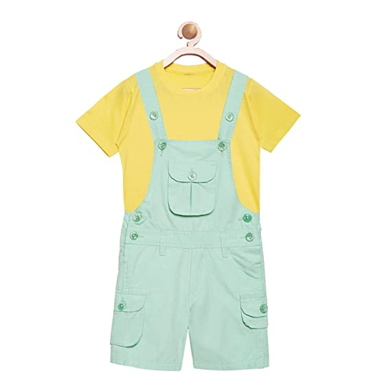 681d21d18bb FirstClap Cotton Knee Length Sea Green Dungaree and Yellow T-Shirt for  Kids