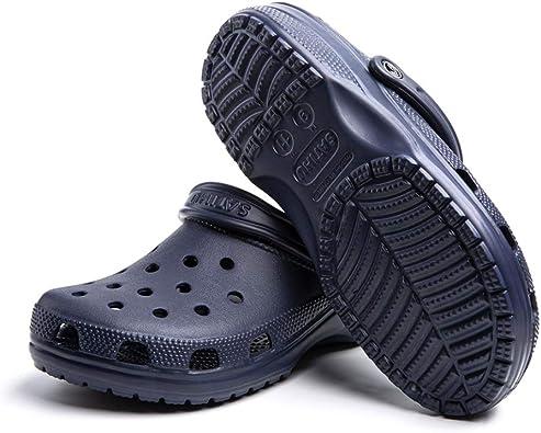 Zuecos Sanitarios Mujer Hombre Sandalias de Playa Piscina Chanclas Jardín Comodos Outdoor Verano Zapatillas de Trabajo Negro Azul Blanco Rojo Número 35-47 EU: Amazon.es: Zapatos y complementos