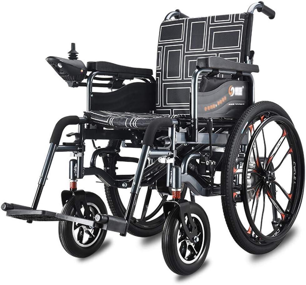Yuiop Silla de Ruedas eléctrica Plegable Ancianos discapacitados, motorizados, Ligeros, Plegables, eléctricos, Plegables, portátiles, Ancho de Asiento 46 cm, Capacidad de Peso 120 kg,Negro,30AH
