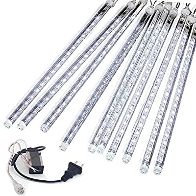 EAGWELL Meteor Shower Lights, 20 Inches Linkable Snow White 10 Tube 540 Leds Meteor Shower Rain Tubes Waterproof Icicle Snow Falling String Lights for Wedding Party Christmas Gardens