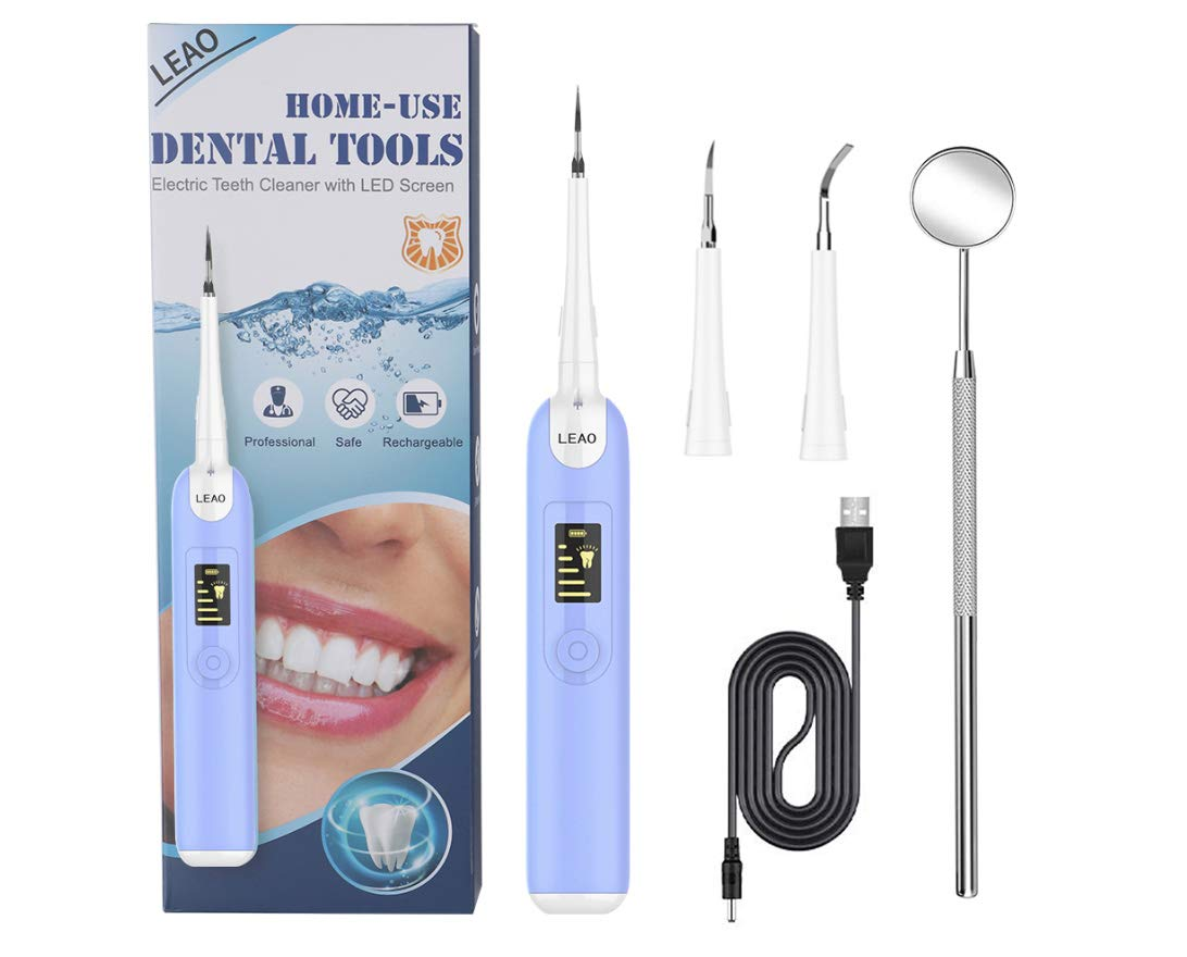 Electric Plaque Remover for Teeth, Ultrasonic Tooth Cleaner Dental Calculus Remover Tartar Remover with LED Display with Replacement Heads Teeth Cleaning Kit