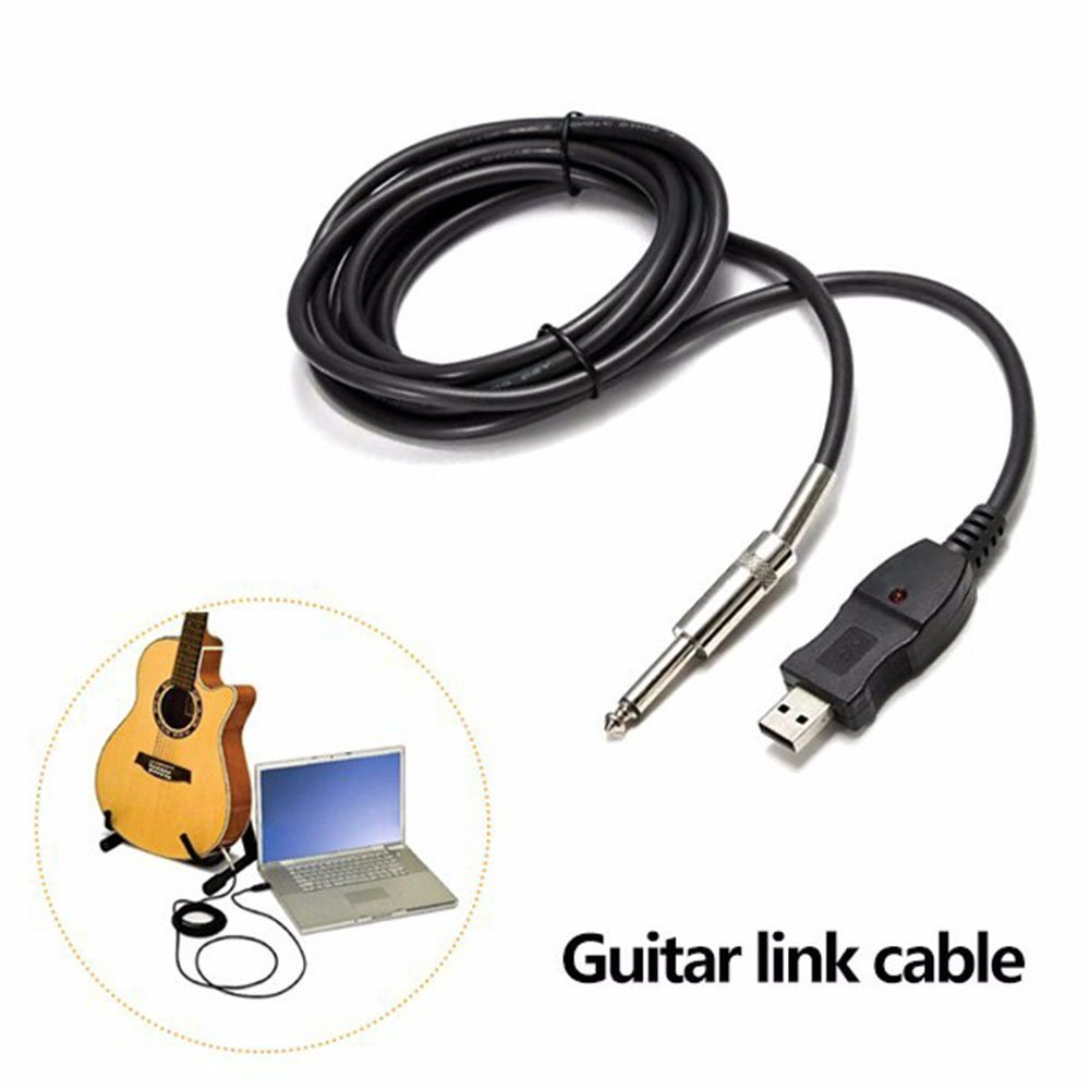 GamutTek Cable USB Guitarra - 3M caja de la guitarra eléctrica del PC Grabación cable de la guitarra Bass 1/4 USB a 6,3 mm Jack al adaptador del cable ...