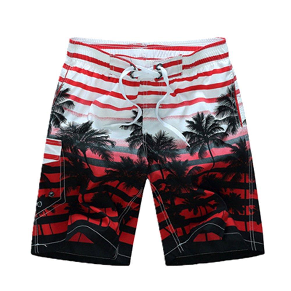 Sevem-D Striped Quick Dry Beach Wear Men Boardshorts Plus Size Board Shorts Male Beachwear Shorts Red L