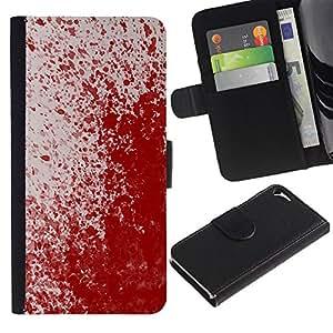 KingStore / Leather Etui en cuir / Apple Iphone 5 / 5S / Paint Blood Splash Arte Moderno Rojo aleatoria