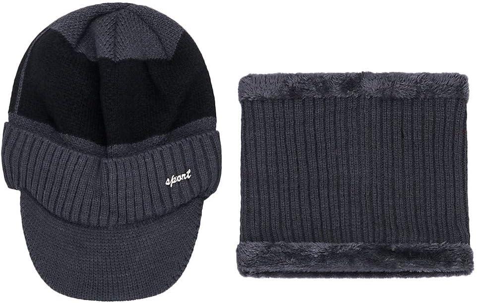 Goldweather Men Winter Warm Hat /&Scarf Set Thicken Knit Visor Beanie Fleece Lined Ear Flap Cap Gray