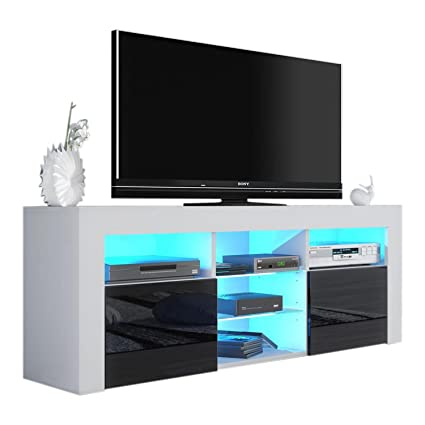 MEBLE FURNITURE U0026 RUGS Milano 145 Modern TV Stand Matte Body High Gloss  Fronts (White