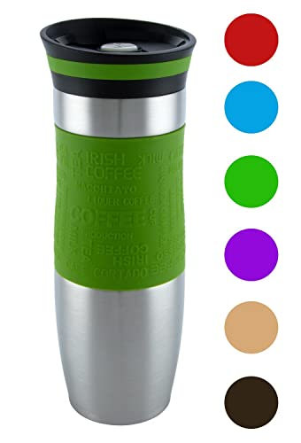 Insulated Vacuum Travel Mug, One-Handed Open and Drink, Very High Quality, Double Walled and Leakproof for any Hot and Cold Drink (480 ml, 16 oz) (Green)
