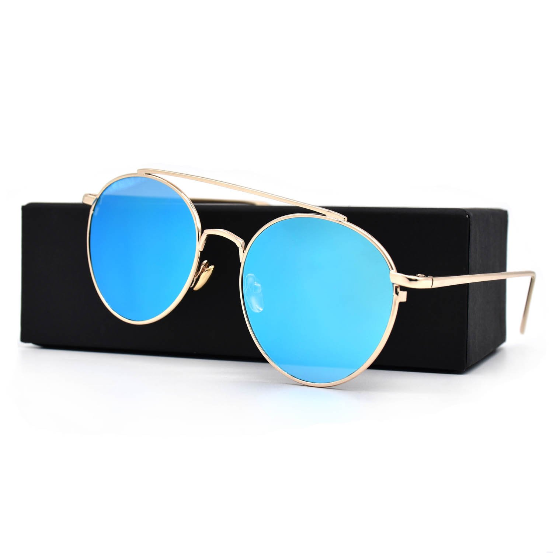 HKUCO Gold color Fashionable Metal Frame popular Design Blue Mirrored Lenses Sunglasses FBgMWUsTEl