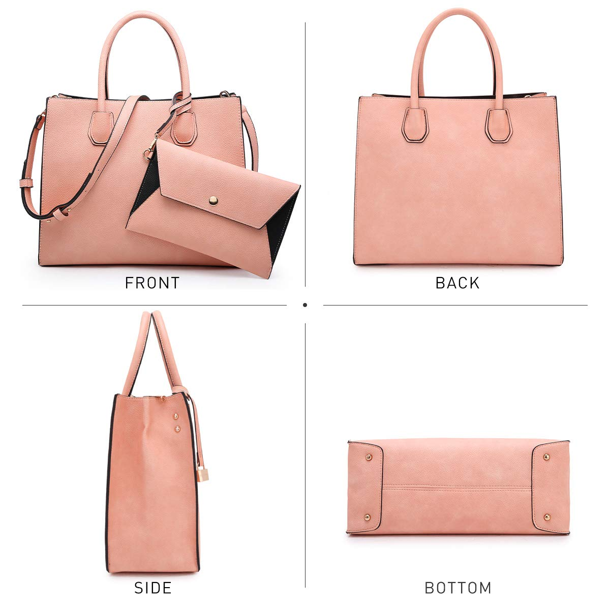 Dasein Purses and Handbags for Women Satchel Bags Top Handle Shoulder Bag Work Tote Bag With Matching Wallet