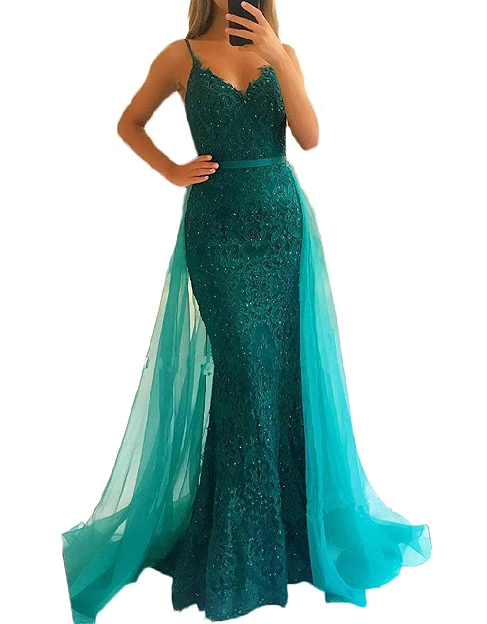 Green alilith.Z Sexy Spaghetti Strap Lace Prom Dresses Mermaid Party Gowns Formal Evening Dresses for Women with Detachable Train