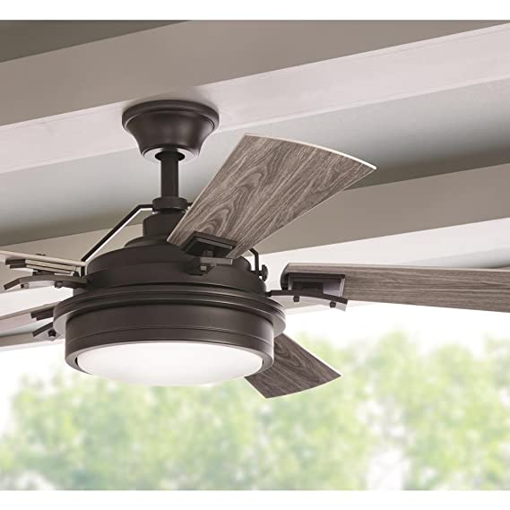 Westerleigh 54 in integrated led indoor outdoor natural iron ceiling fan with light kit and remote control amazon com