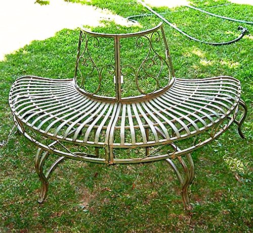 Amazing Serendippity 1 2 Round Tree Bench Plant Stand 30 5 High Wrought Iron Antique Green Finish Creativecarmelina Interior Chair Design Creativecarmelinacom