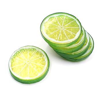 50pcs fake lemon slice garnish artificial fruit faux food house decortion green