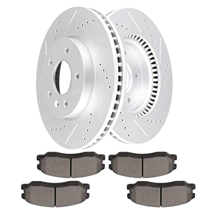 cciyu Front Premium Brake Rotors + Ceramic Brake Pads fit for 2012-2015 Chevy Captiva