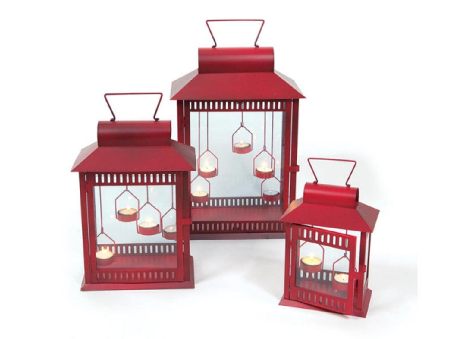 Set of 3 Red Christmas Indoor/Outdoor Tea Light Candle Lanterns 18''