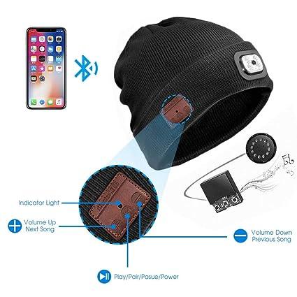 4345d3c6c11 Amazon.com   Bluetooth Beanie Hat with LED Headlight