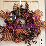 AGD Halloween Decor - Lighted Black Orange Mesh Metallic Pine Wreath