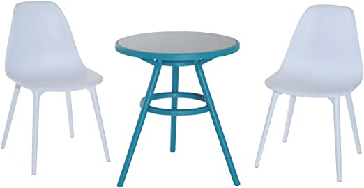 Outsunny Ensemble Design de Jardin Style néo-rétro 2 chaises et Table Ronde  Bleu Turquoise Blanc