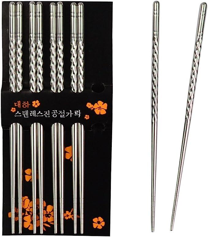 1//2//5//10 Pair Non-Slip Flower Pattern Chop Sticks Stainless Steel Chopstick UK
