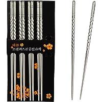 Rbenxia Metal Steel Chopstick Stainless Steel Spiral Chopsticks 8.8 Inches Long Lightweight Chopstick Set Reusable…