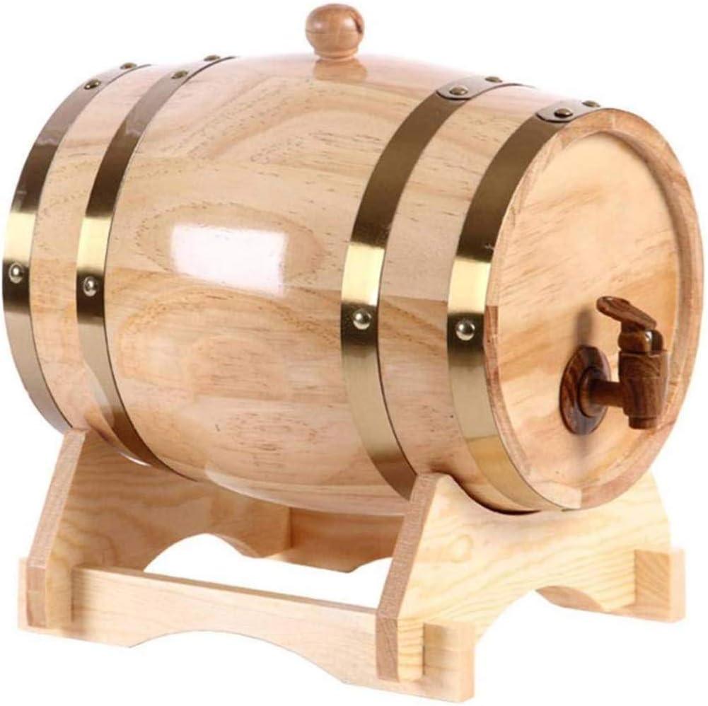 KDJJH Barril de Roble, Barril Dispensador de Vino Barril Madera 5L Barriles de Madera Barril Dispensador de del Barril de Cerveza para Almacenamiento de Vino,Natural_5L