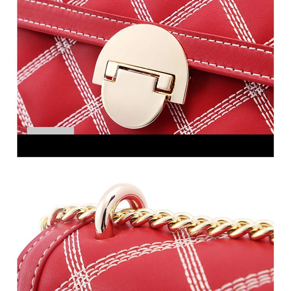 HUIGE dammode crossbody axelväska äkta läder quiltning kedja kors damhandväska för flickor, röd Röd