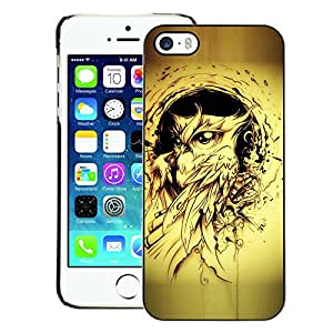 A-type Arte & diseño plástico duro Fundas Cover Cubre Hard Case Cover para iPhone 5 / 5S (Owl Bird Yellow Tattoo Black Ink Painting)