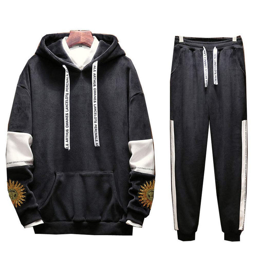 duduxiaomaibu Mens Tracksuit Long Sleeve Running Jogging Sports Jacket Pants -