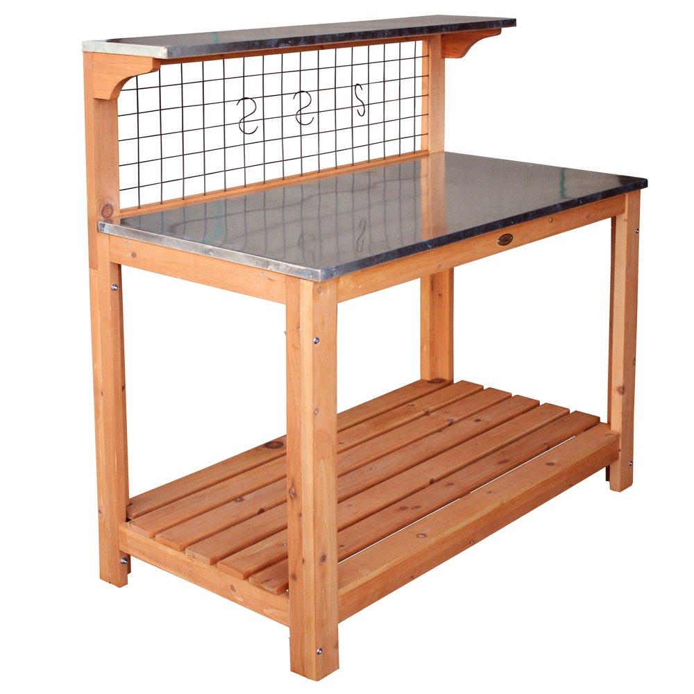 Habau 695 Gartentisch mit verzinkter Arbeitsplatte 101 x 55 x 117 cm