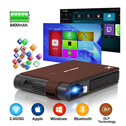 Mini HD DLP Projector Wifi Bluetooth, Portable Wireless Android Projector  1080P 3D Display Built in Battery, Auto Keystone Correction HD Proyector