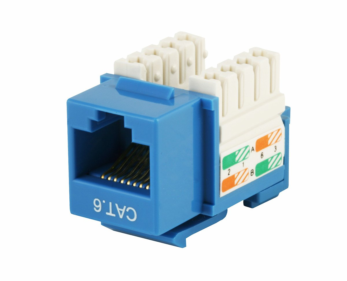 Monoprice Cat6 Punch Down Keystone Jack Blue 110 Punchdown Block To Rj45 Wiring Diagram Computers Accessories
