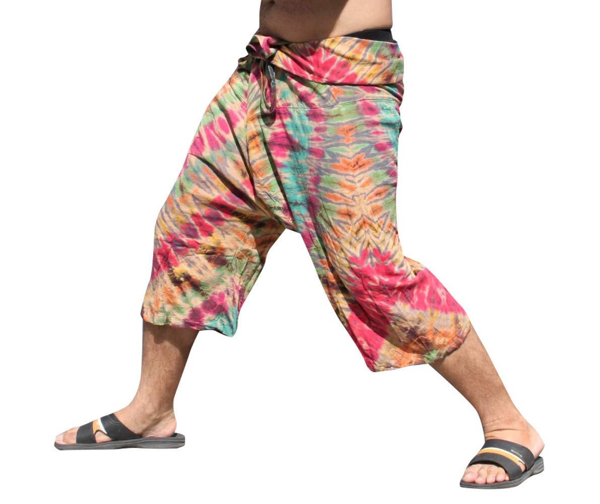 Full Funk Cotton Tie Dyed Natural Colorful Thai Fisherman Wrap 3/4 Leg Pants, Small, Yellow Gray by Full Funk