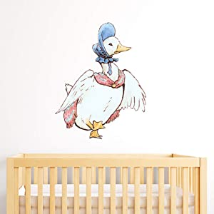 Peter Rabbit Wall Sticker Jemima Puddle Duck Scarf and Bonnet Wall Decal Vinyl Kids Bedroom Mural (60cm Height x 45cm Width)
