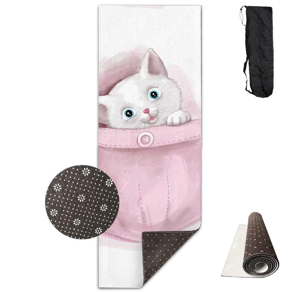 Pink Pocket Cat Premium Print Durable Concise Fun Printing Yoga Mat for Yoga, Workout, Fitness