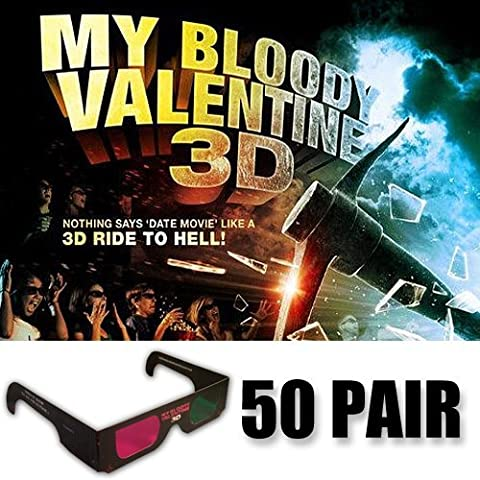 My Bloody Valentine 3D Glasses Ultimate Party Pack (OFFICIAL GLASSES ONLY 50 Pair) (Magenta Green)