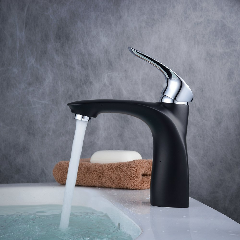 Beelee BL6601W grifos para lavabo con cuerpo suave cromo e pittura bianca tama/ño mediano con ca/ño alto,ottone