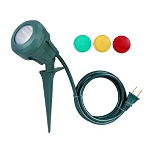 DEWENWILS 4.8 W LED Outdoor Floodlight, Waterproof Stake Light 400lm Landscape Lighting with 5 ft Cord and 3 Extra Lenses (Red Yellow Green) for Driveway, Yard, Lawn,Garden UL Listed