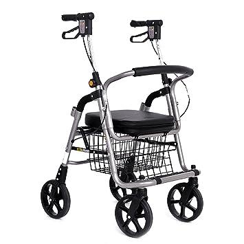 Carritos de la compra Trolley Coche Andador Anciano Scooter Carro de Ruedas Silla de Ruedas Se Puede sentar Bicicleta Plegable de Cuatro Ruedas Carga de 100 ...