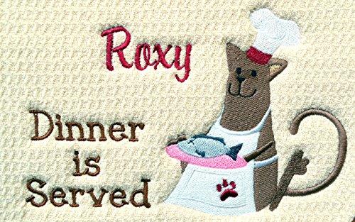 Custom ABSORBANT Pet Place Mat, Cat Feeding Mat, Cat Litter Mat, Custom Machine Washable/Durable, 18'' X 16'', Custom Pet Mat, Premium Mat, (You Choose Mat Color and Name). by Embroidery Hut