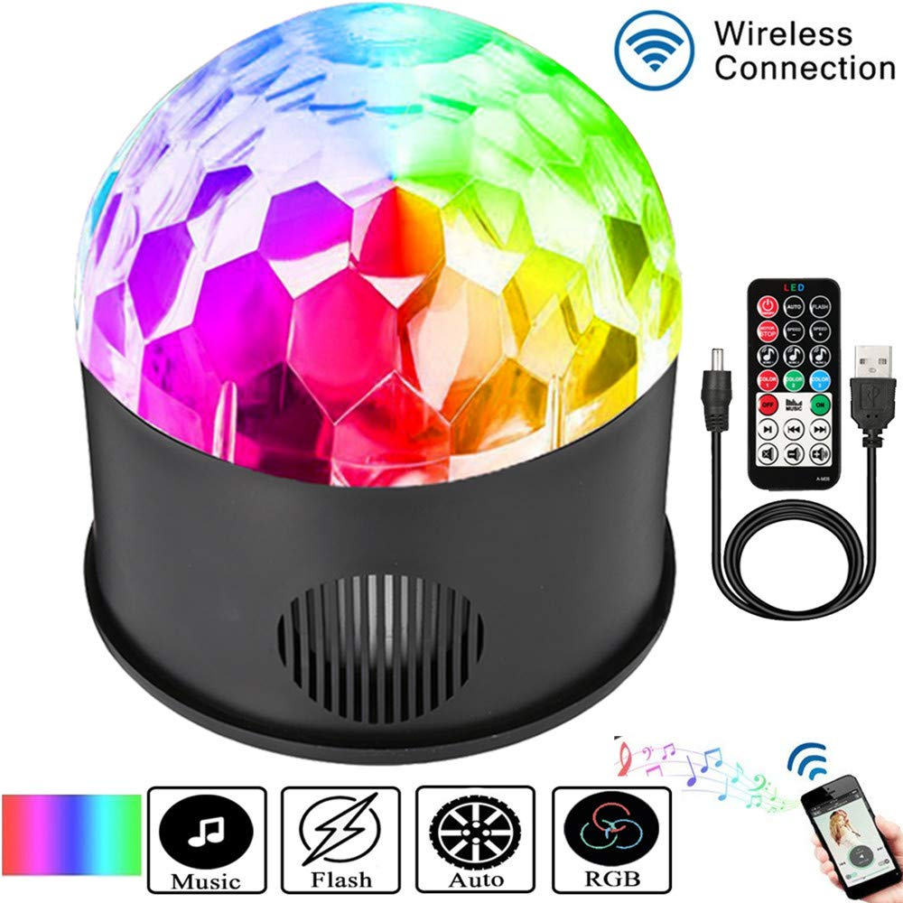 SOLMORE LED Disco Ball Party Lights Strobe Light 9 Color 9W Sound Activated DJ Lights Stage Lights Wireless Phone Connection with Remote for Club Gift Kids Birthday Wedding Home Karaoke Dance Light