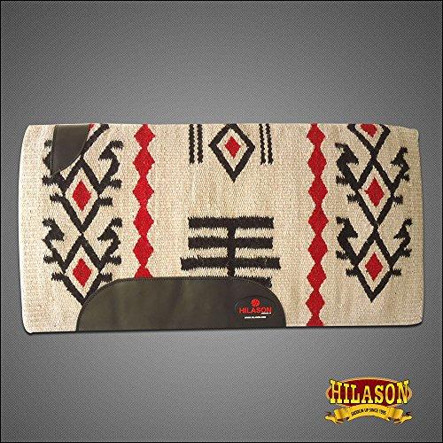 HILASON Show New Zealand Wool Saddle Blanket Western White Crimson