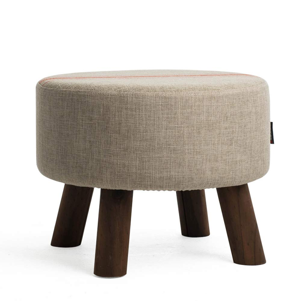 R+454535cm Sofa Stool Pouffe Stool Change shoes Stool Dressing Stool Solid Wood Cotton Linen Art Living Room Footstool shoes Bench Upholstered,O+45  45  35cm