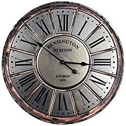 Crystal Art Kensington Station Silver Metal Round Analog Roman Numerals Wall Clock 27 Diameter x 1.75 Depth Multicolored