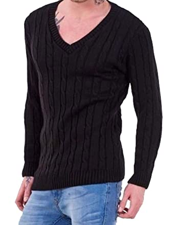1d4978979bc4e5 Mens V Neck Knitted Cricket Jumper Adult Long Sleeve Plain Chunky Cable  Sweater at Amazon Men's Clothing store:
