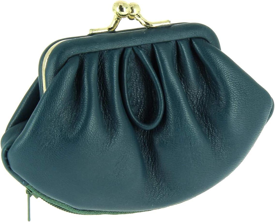 Karl Loven Monedero para mujer estilo retro con cierre Clic Clac de piel de cordero con 3 compartimentos para monedas tarjetero RFID Tarjeta azul Billetes