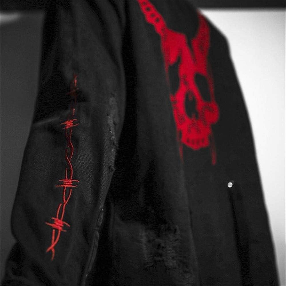 Mens Casual Jacket Harajuku Gothic Demon Hunter Skull Black Denim Jacket